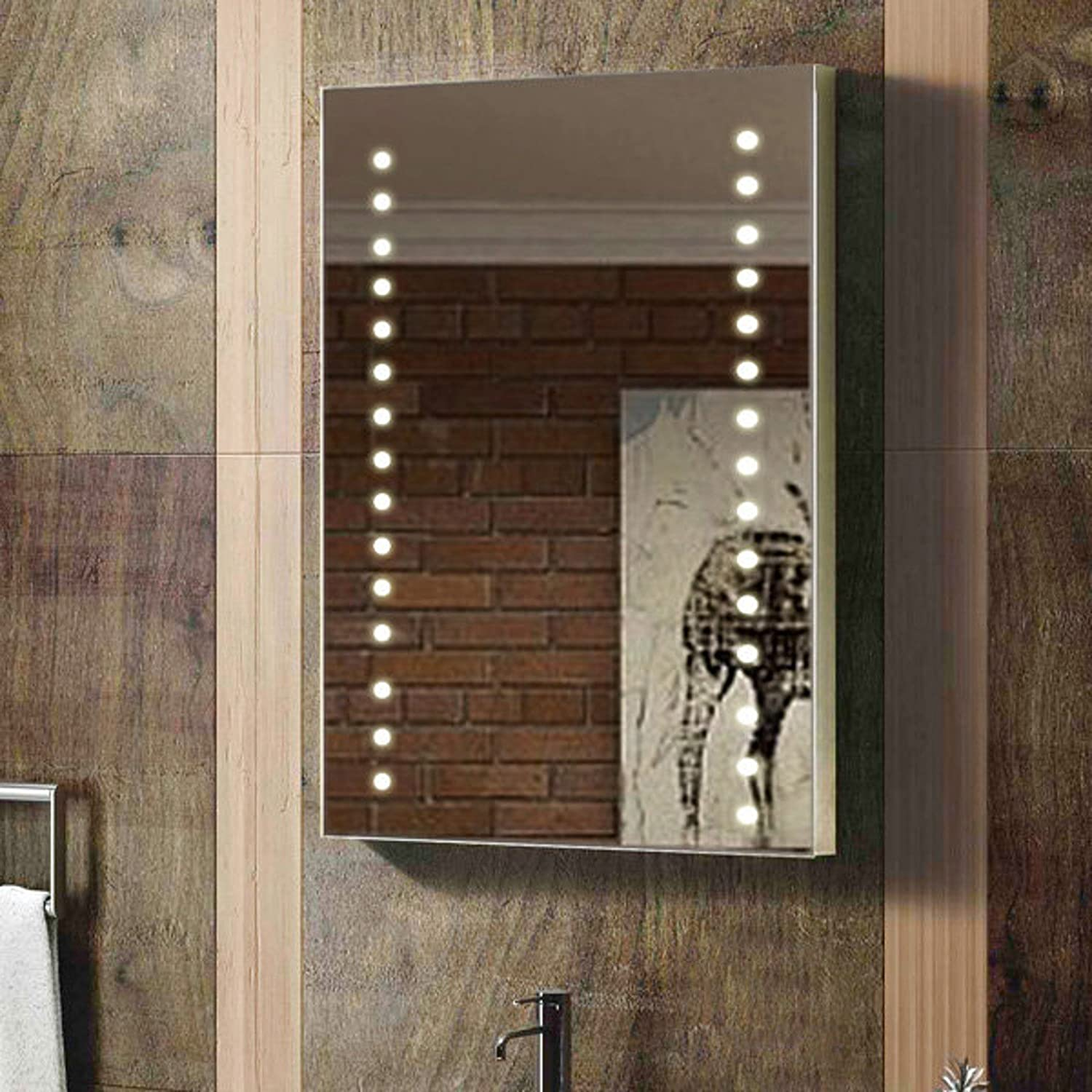 enki 400 x 600 mm led allument miroir en verre mur chambre salle de bain maison ebay. Black Bedroom Furniture Sets. Home Design Ideas
