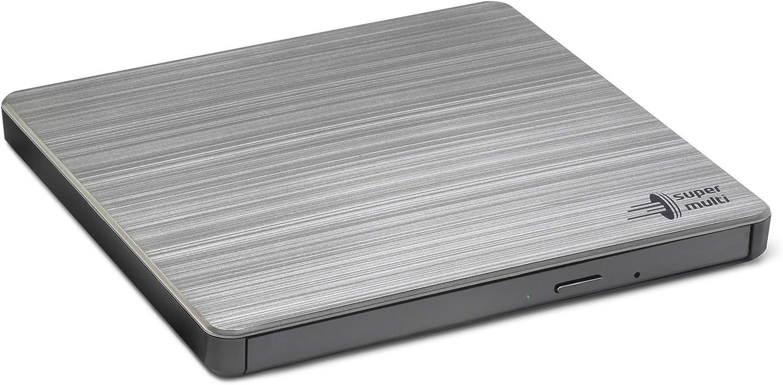 Hitachi-LG GP60NS60 Lecteur DVD/CD Externe USB 2.0 portable compact DVD-RW CD ROM Graveur de DVD pour ordinateur de bureau portable Windows et Mac OS avec connectivité TV - Argent