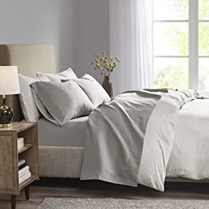 """Madison Park 3M Microcell Color Fast, Wrinkle and Stain Resistant, Soft Sheets with 16"""" Deep Pocket All Season, Cozy Bedding-Set, Matching Pillow Case, Twin XL, Grey"""