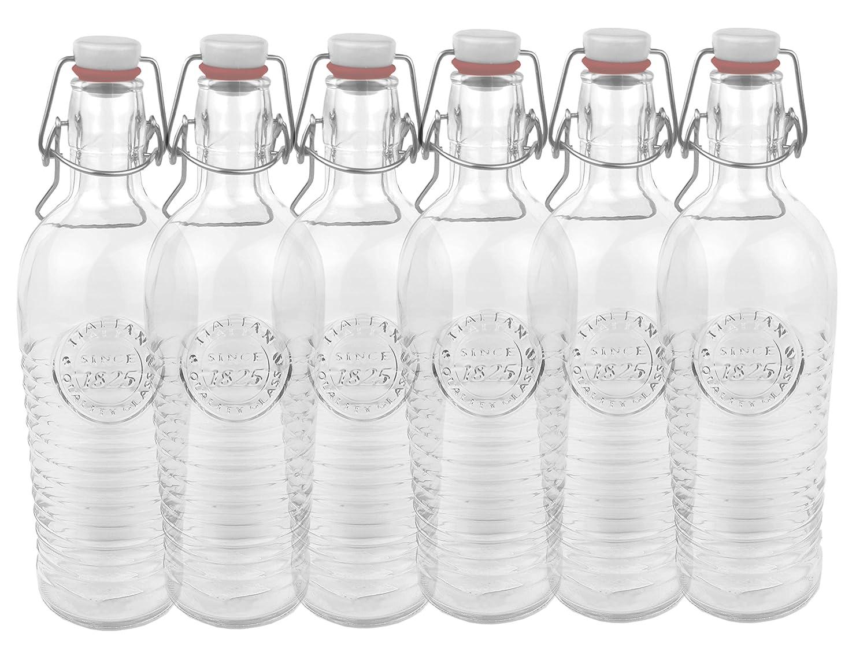 Bormioli Juego de 6/Cristal Botella Officina 1825/ /geriffelte 1,2/l con Cierre de Clip y Relieve.