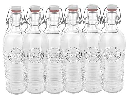 Bormioli Juego de 6 Cristal Botella Officina 1825 – geriffelte 1,2 l con Cierre