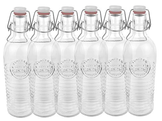 6 opinioni per Set di 6 bottiglie in vetro Officina 1825- rigata, 1,2 litri, con chiusura a