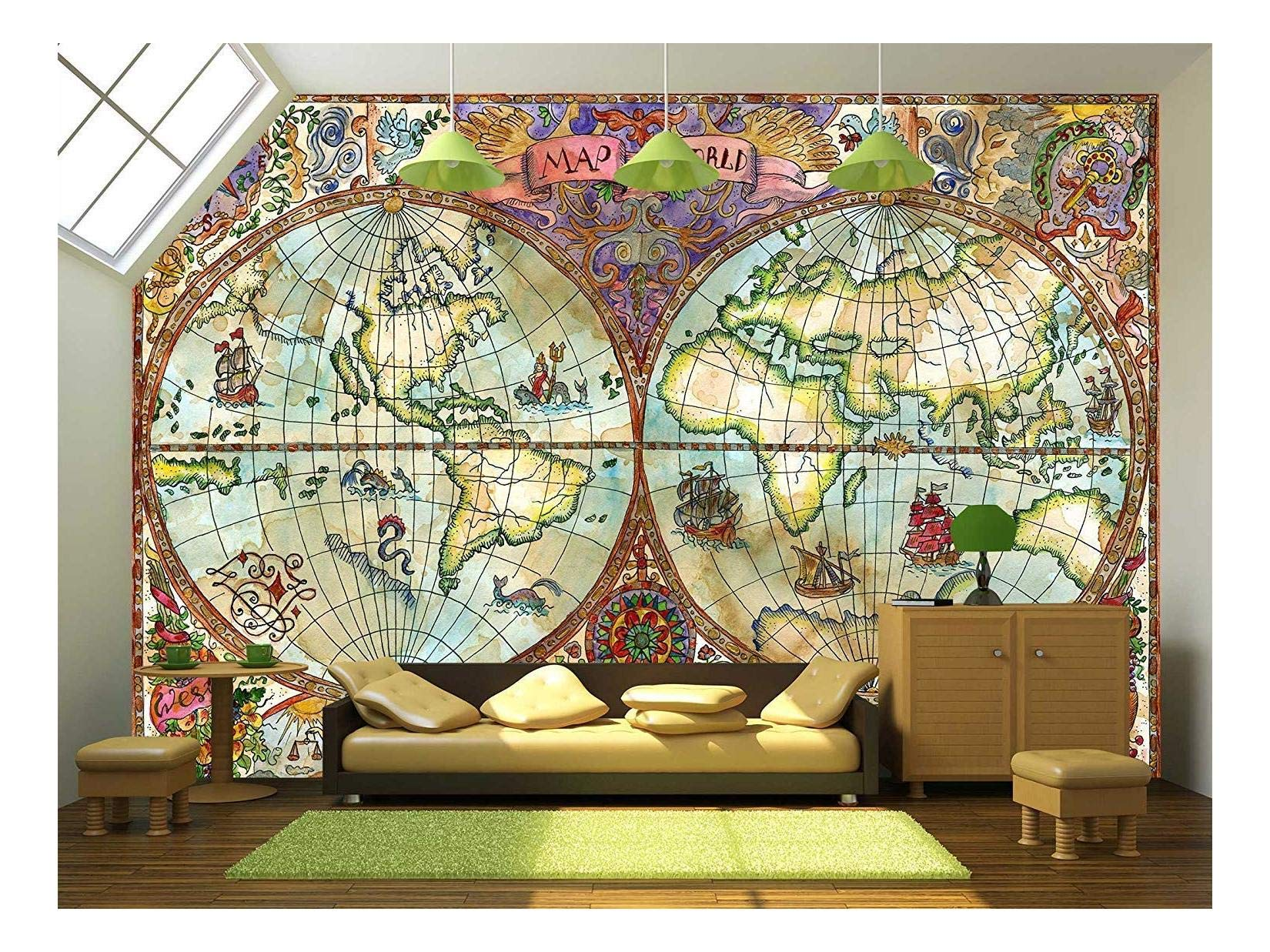 wall26 - Illustration - Vintage Illustration with World Atlas Map on Antique Paper. Pirate Adventures - Removable Wall Mural | Self-Adhesive Large Wallpaper - 100x144 inches by wall26 (Image #1)