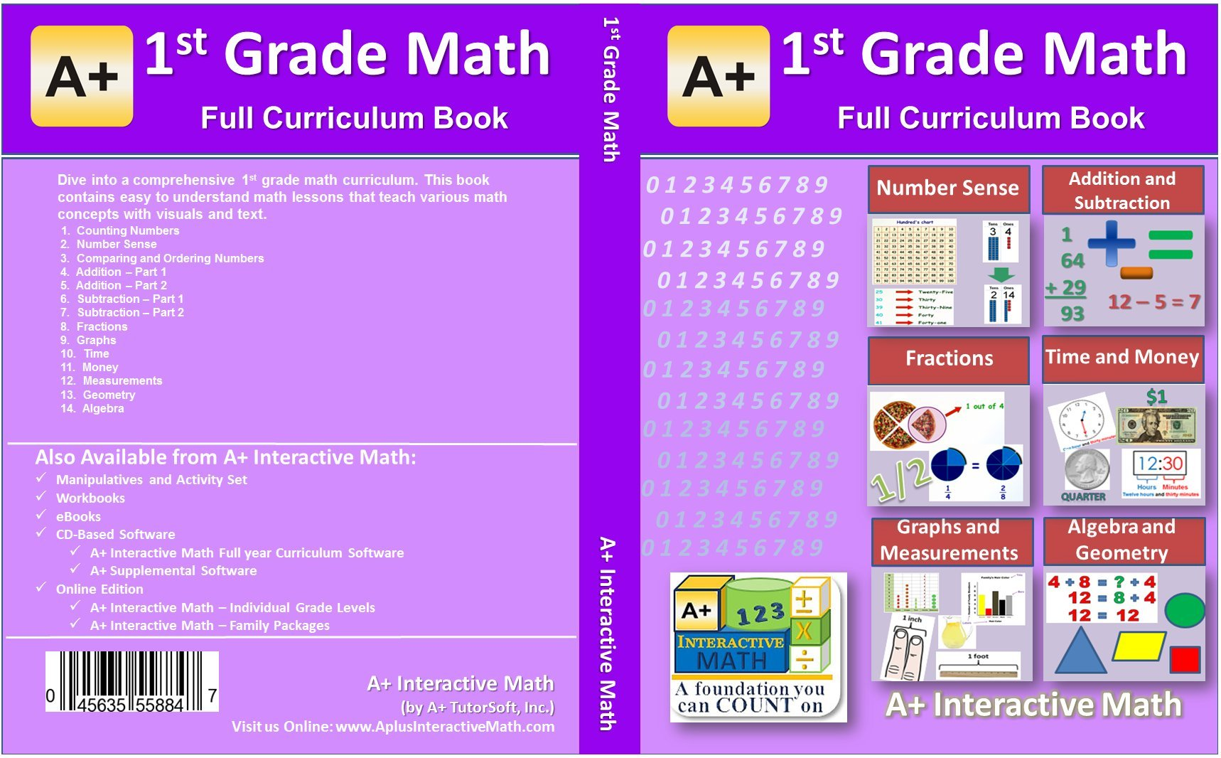 1st, First Grade Math Textbook - 100 Lessons (420 Pages ...
