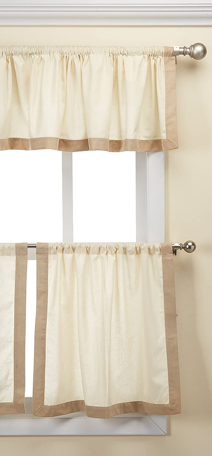 Elrene Home Fashions 026865923704 Kitchen Tier and Valance Set, Linen, 30x24 30x24