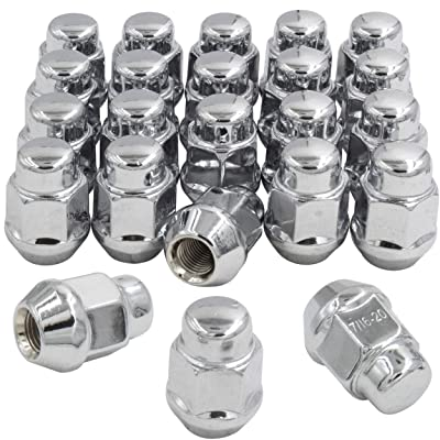 "Wheel Accessories Parts Set of 23 (for Jeep) 1/2-20 Chrome 1.38"" Long 21mm (13/16"") Hex Lug Nut Closed End Bluge Acorn Lug Nuts Cone Seat 1/2 in Thread: Automotive"