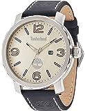 Timberland Pinkerton hommes de montre à quartz avec cadran beige affichage analogique et bracelet en cuir bleu 14399x s/07a