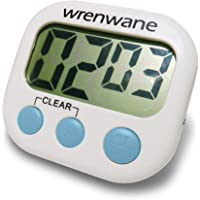 Wrenwane Timer (Upgraded), No Frills, Simple Operation, Big Digits, Loud Alarm, Magnetic Backing, Stand, White