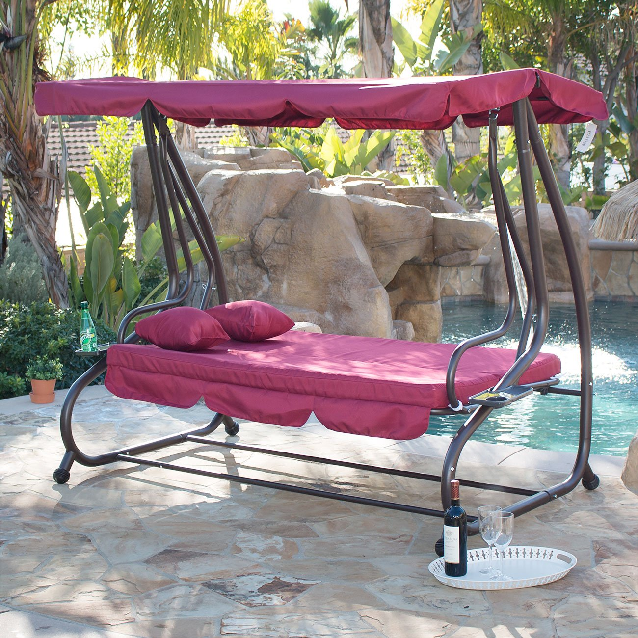 Outdoor swing chair with canopy - Amazon Com Belleze 3 Seat Porch Patio Swing Bed With Pillow Burgundy Garden Outdoor