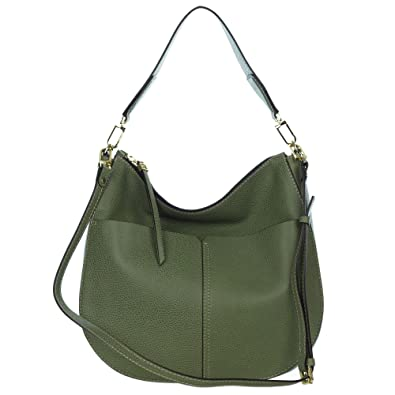 a78a4b4ec5 Amazon.com  Gianni Chiarini Italian Made Moss Green Pebbled Leather Large  Front Pockets Hobo Bag  Shoes