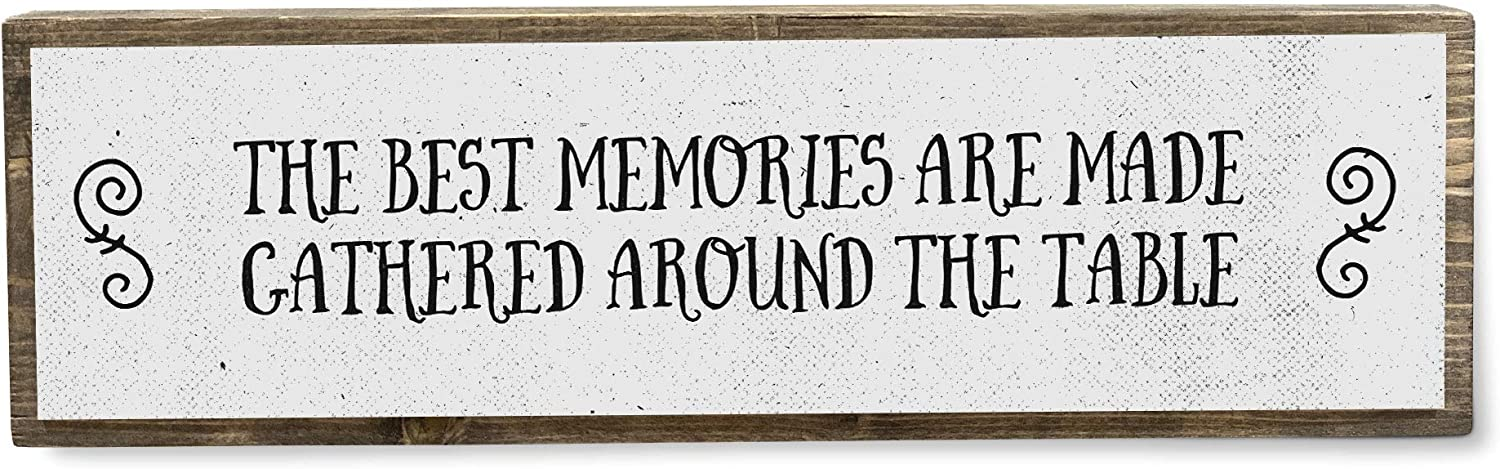 The Best Memories are Made Gathered Around The Table - Metal Wood Sign Light - Kitchen Decor - Rustic Farmhouse Kitchen Decor Wall Sign