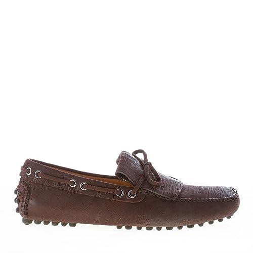 Car Shoe Uomo Mocassino Driving in Pelle Antic Marrone Ebano con Frangia e  Laccetto Color Marrone Size 39  Amazon.it  Scarpe e borse c8d11068df5