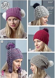30c834b47 King Cole 5037 Knitting Pattern Womens Hats in King Cole Merino Blend Aran  and Fashion Aran