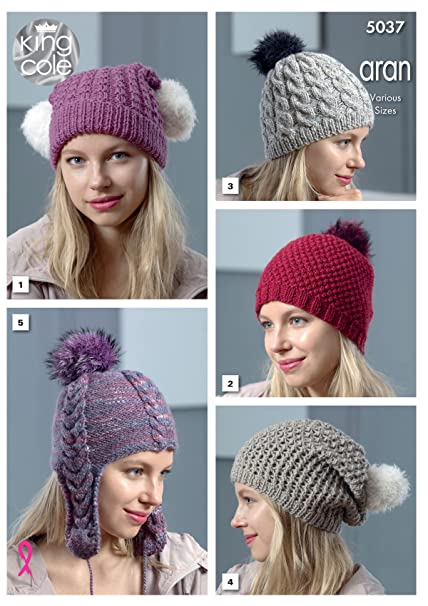 c0a5d6811 King Cole 5037 Knitting Pattern Womens Hats in King Cole Merino ...