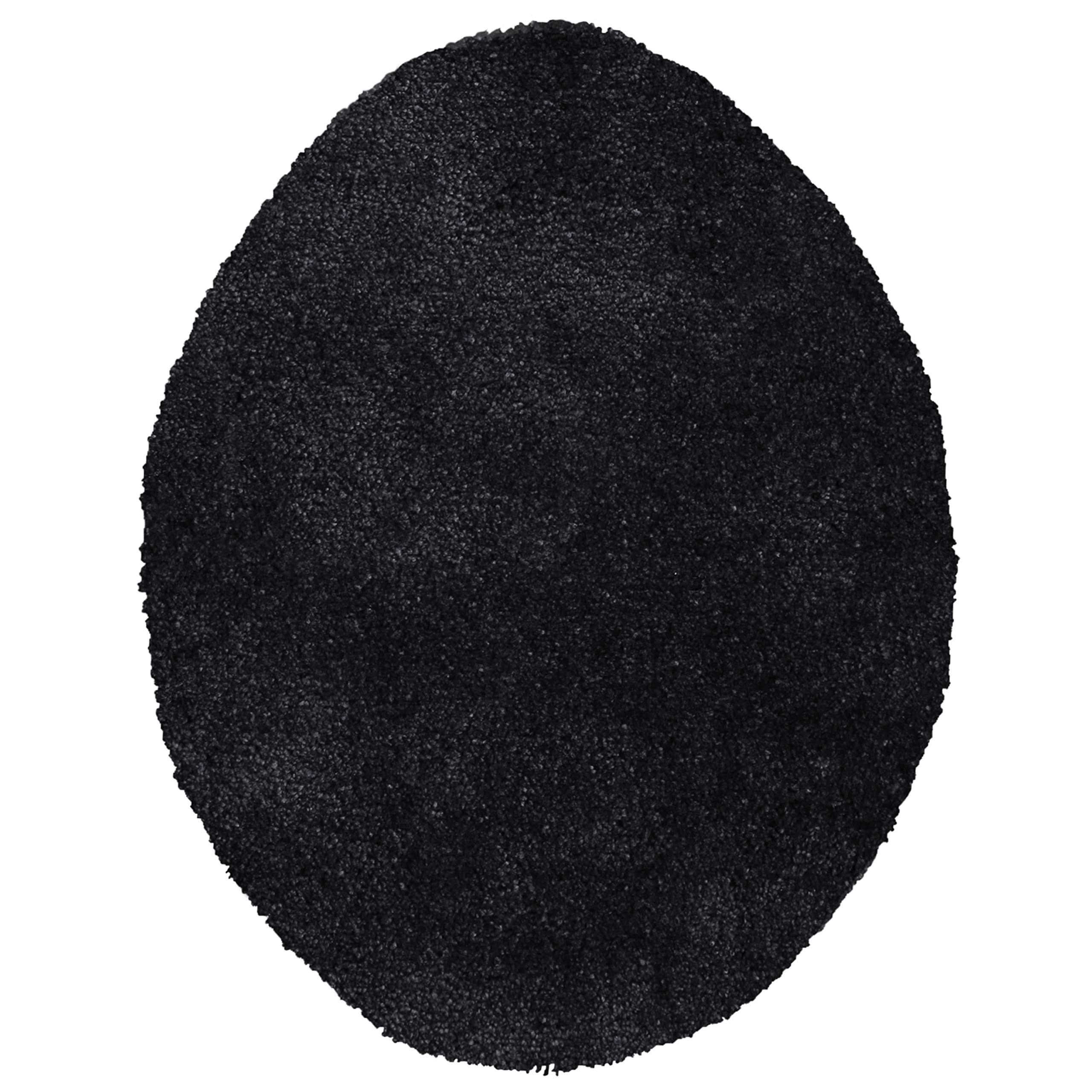 Maples Rugs Toilet Lid Cover-Colorsoft Soft Washable Elongated Seat Rug [Made in USA] Non Slip & Quick Dry for Bathroom, Rich Black by Maples Rugs