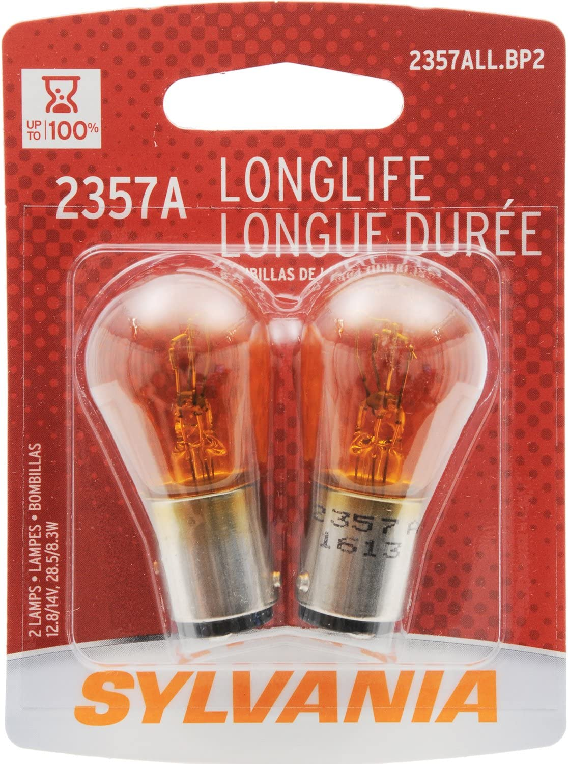 Contains 2 Bulbs Amber Bulb SYLVANIA 2357A Long Life Miniature Ideal for Park and Turn Lights