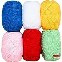 Vardhman Bunny Mix 4 no. (6 pc Pack) Wool Ball Hand Knitting Wool/Art Craft Soft Fingering Crochet Hook Yarn, Needle Acrylic Knitting Yarn Thread Dyed