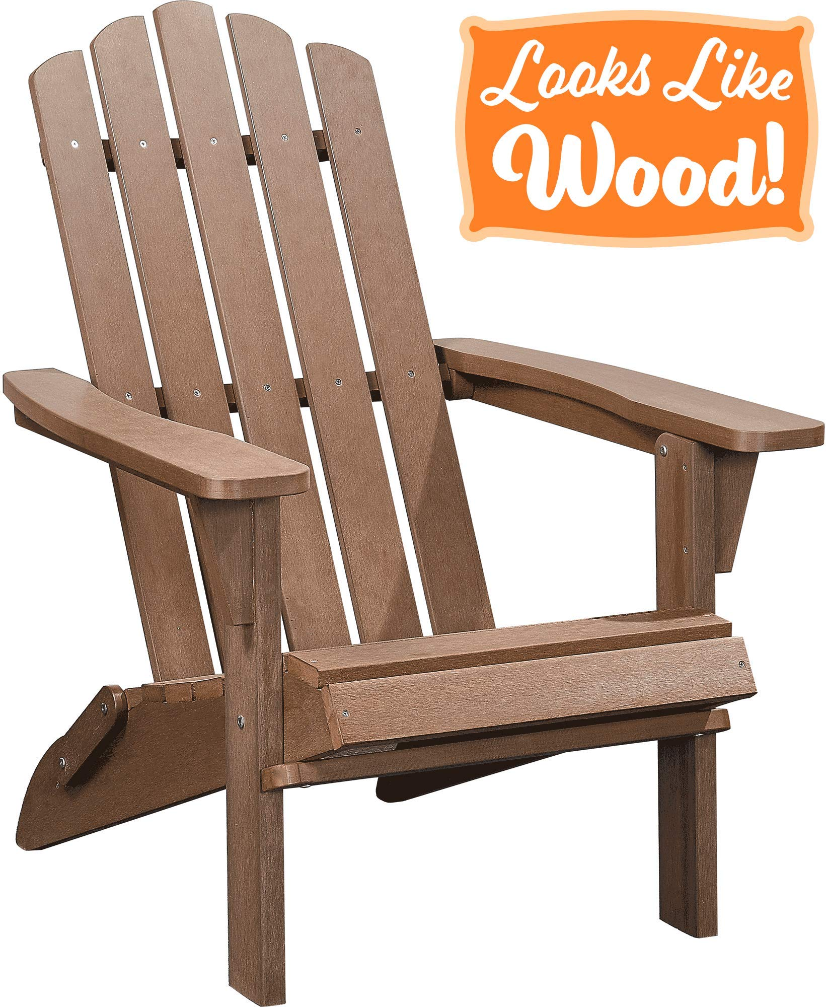 PolyTEAK Classic Folding Poly Adirondack Chair, Walnut Brown   Adult-Size, Weather Resistant, Made from Plastic by PolyTEAK