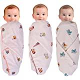 Mom's Home Organic Cotton Swaddle Cum Baby wrap/Bedspread/Dohar, 0-2 Years - Pack of 3- Chirping Chidiyaan, Bholu Monkey, Ghodu- 100x100 cm