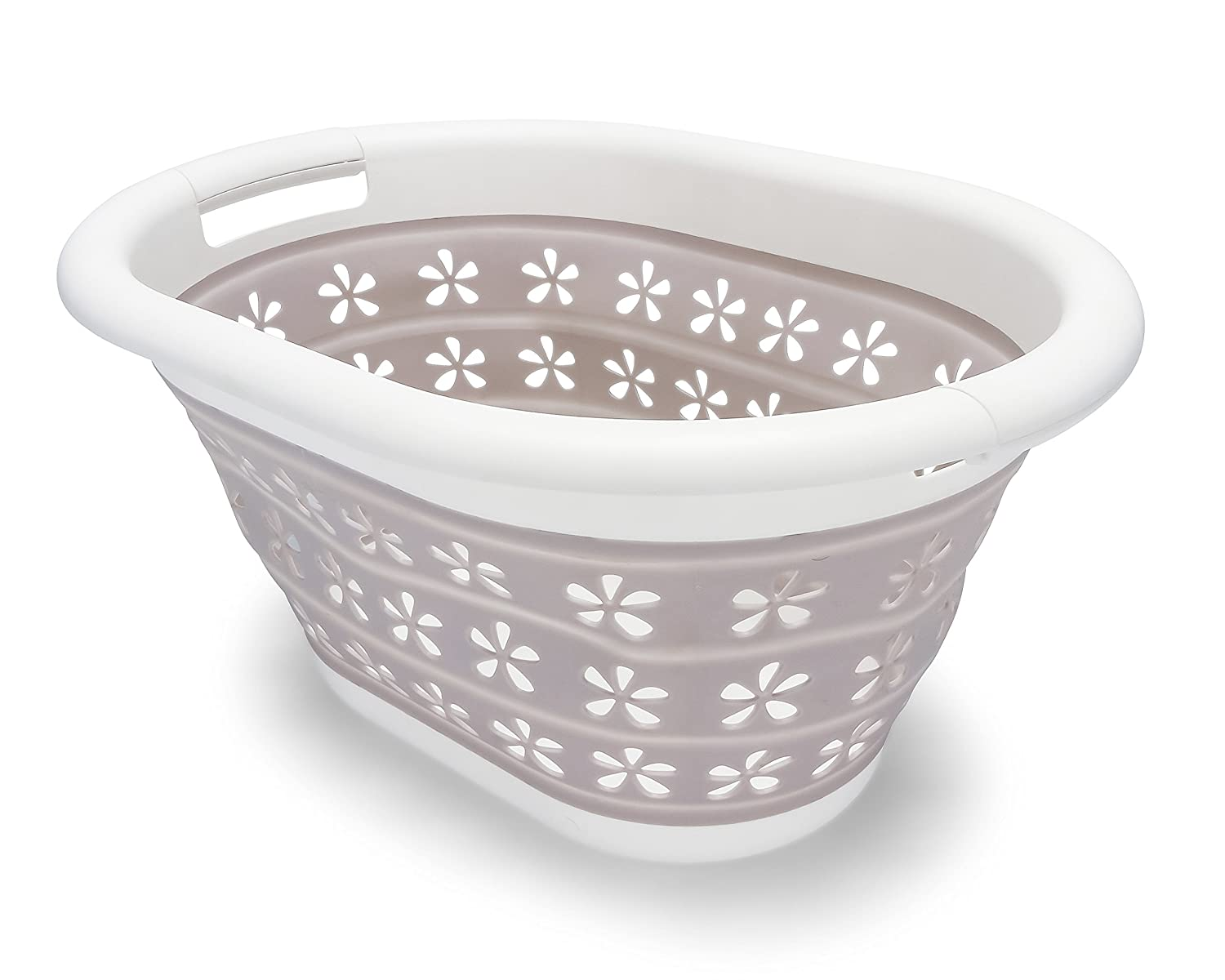 Camco 51951 Collapsible Utility Basket - Small, White/Taupe