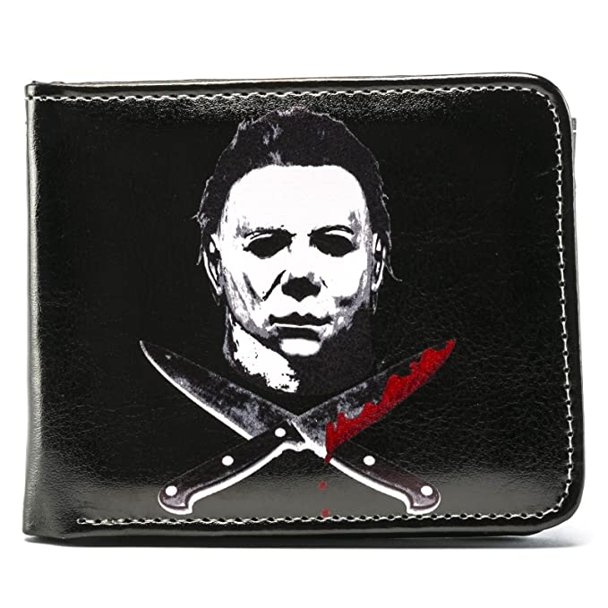 halloween 2 micheal myers cross knives bi fold wallet