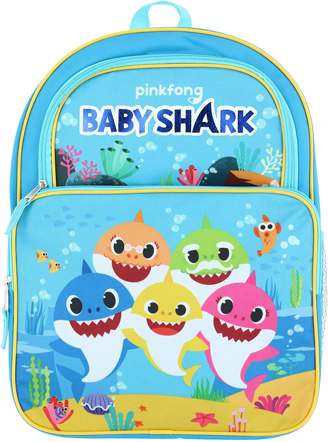 "5 Baby Shark 16"" Large 2 Pocket Backpack"