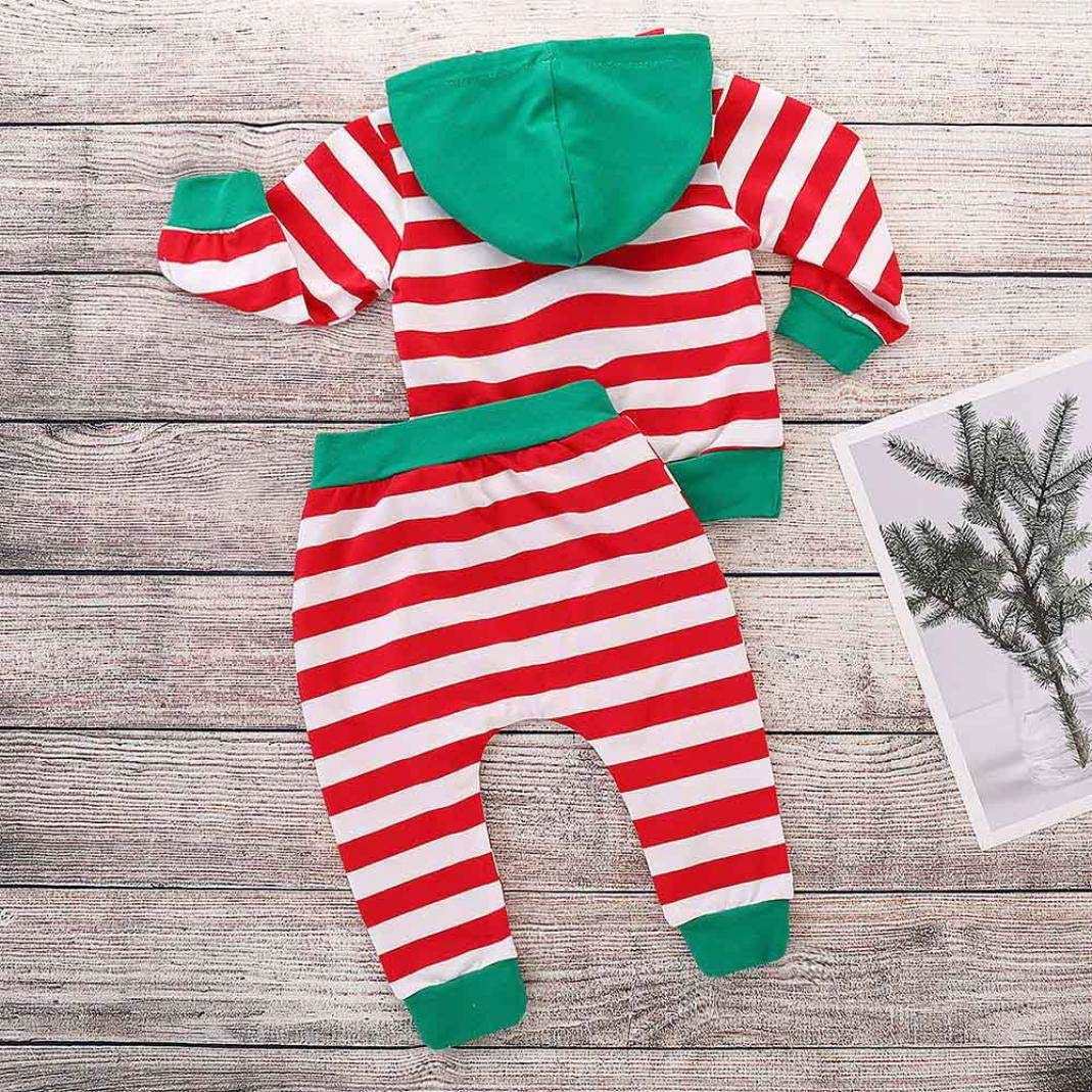 ASHOP 0-24 Meses Ni/ño Ni/ña Oto/ño//Invierno Ropa Conjuntos Camisetas de Manga Larga con Capucha Pantalones a Rayas Conjuntos Bebe