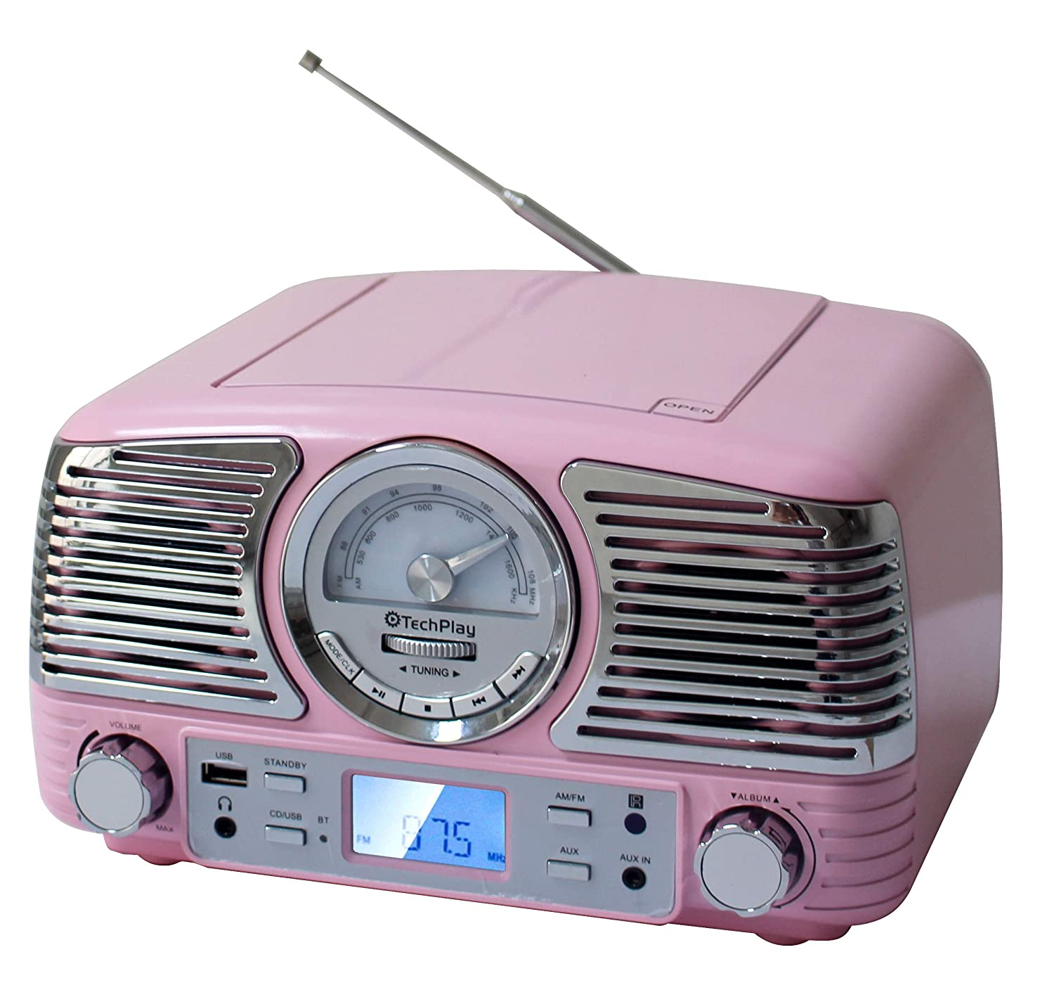 TechPlay QT62BT, Retro Design Compact Stereo CD, with AM/FM Rotary knob, Wireless Bluetooth Reception, SD and USB Ports. with AUX in and Headphone Jack (Turqouise) 4332834265