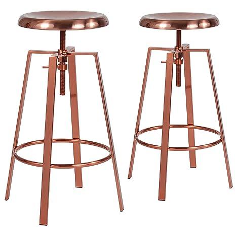 Terrific Flash Furniture 2 Pk Toledo Industrial Style Barstool With Swivel Lift Adjustable Height Seat In Rose Gold Finish Inzonedesignstudio Interior Chair Design Inzonedesignstudiocom