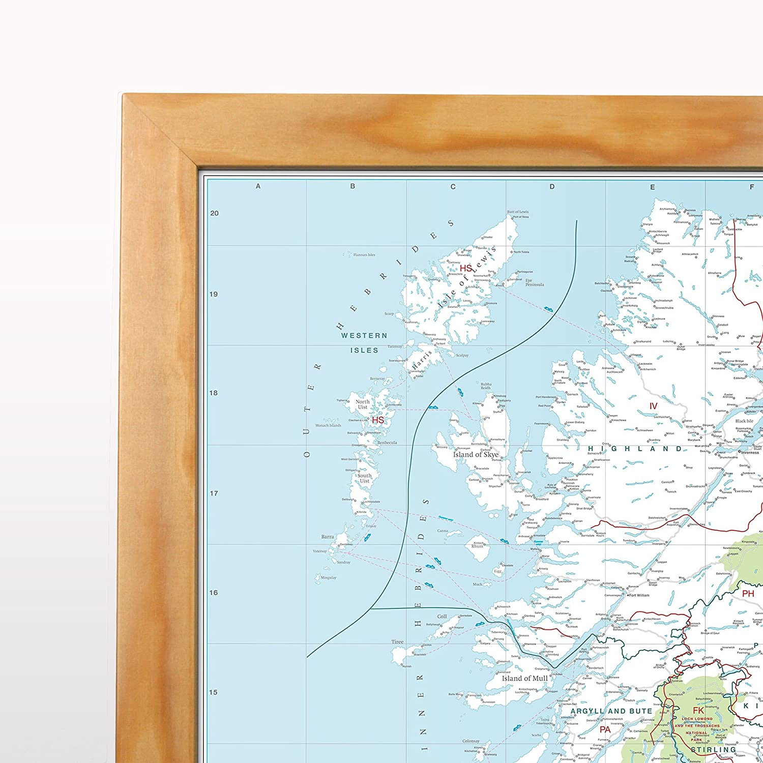 Large Wall Map For Business UK Postcode Area Map Laminated With Aluminium Frame /& Metal Backing