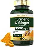 Turmeric Curcumin & Ginger Complex | 3000 mg | 60 Softgel Pills | with Black Pepper Extract | Non-GMO, Gluten Free Supplement | by Horbaach
