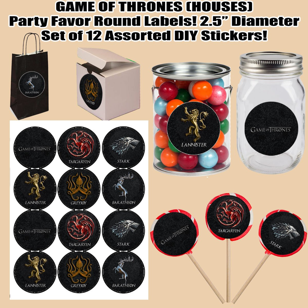 """Boxes or Containers Cards 12 pcs Game of Thrones HOUSES Large 2.5/"""" Round Circle Stickers to Place onto Party Favor Bags"""