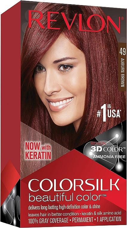 Revlon ColorSilk Beautiful Color 49 Marrón coloración del cabello - Coloración del cabello (Marrón, Auburn Brown)