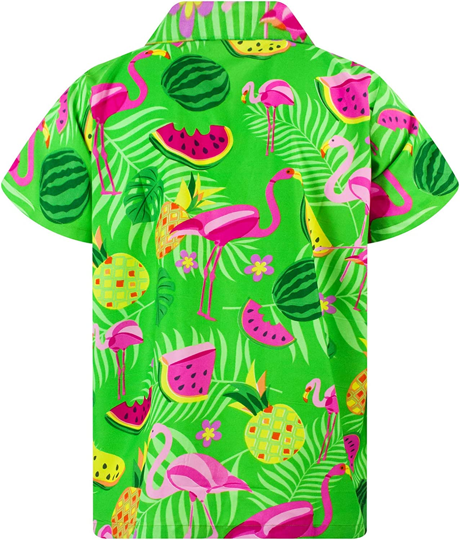 Maniche Corte King Kameha Funky Camicia Hawaiana da Uomo Tasca Frontale Fenicottero Meloni Stampa Hawaiana XS 6XL