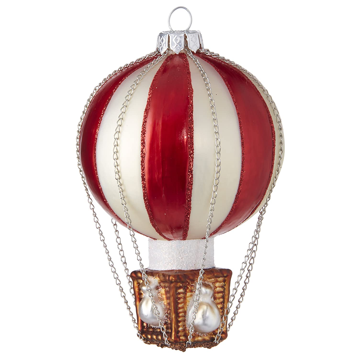RAZ Imports Red Hot Air Balloon Glass Ornament, 4