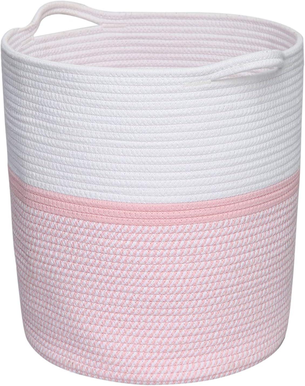 Clothes Basket with Handles, Cotton Rope Basket, Laundry Basket, Pink Storage Basket, Woven Basket Nursery Bin, Blanket Basket, Clothes Storage, Towel Hamper, Environmental Protection Material