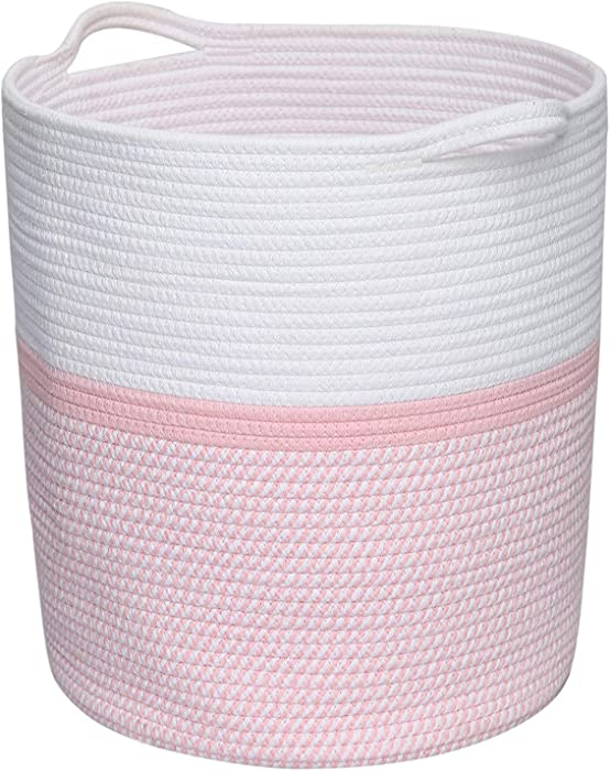 Clothes Basket with Handles, Cotton Rope Basket, Laundry Basket, Pink Storage Basket, Woven Basket Nursery Bin, Blanket Basket, Clothes Storage, Towel Hamper, Environmental Protection Material