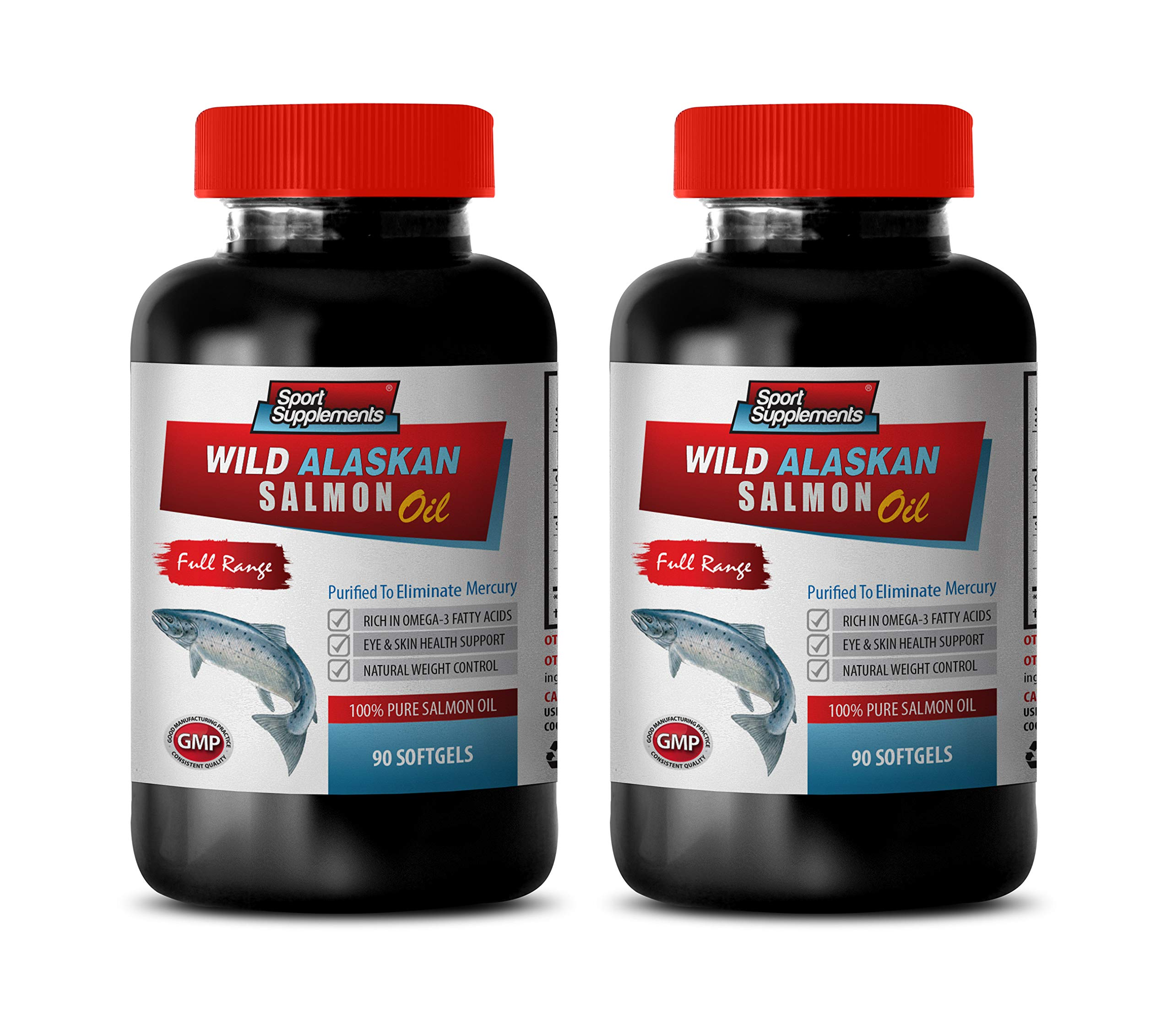 Cholesterol lowering Products - Wild Alaskan 100% Pure Salmon Oil - Fish Oil Bulk Supplements - 2 Bottles 180 Softgels by Sport Supplements