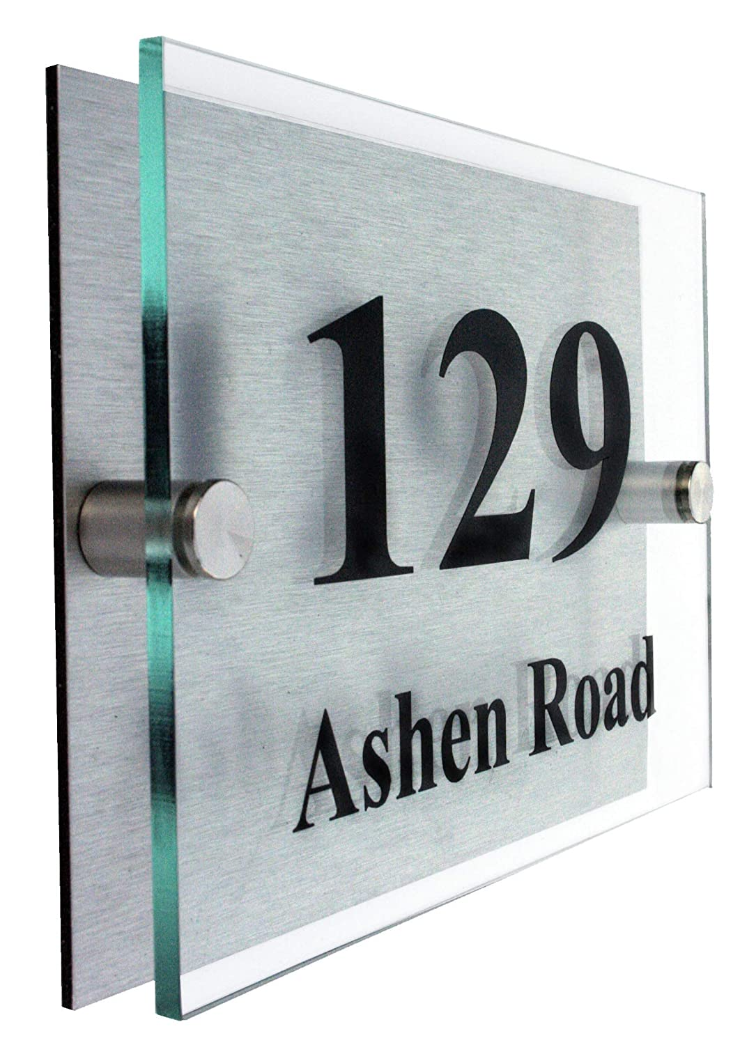Premier qualityglass look acrylic choice of fonts 10 year guarantee personalised house number signs 2 part acrylic amazon co uk garden outdoors