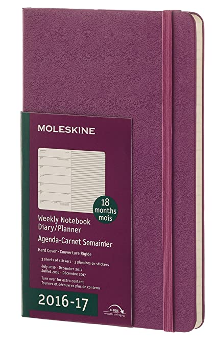 Moleskine DHH1018WN3Y17 - Agenda semanal 18 meses, L 13 x 21, color morado