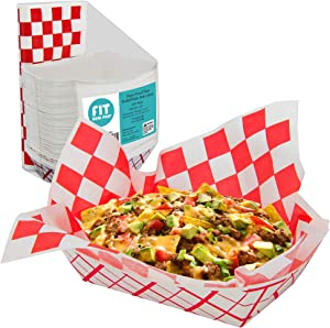 [125 Sheets and 125 Trays] Red and White Checkered 12x12 Inch Deli Sheet Sandwich Wrap Paper Basket Liner and 5 lb Paper Food Tray - Grease Resistant for Burger Fries Nachos Hotdog Chicken Chips
