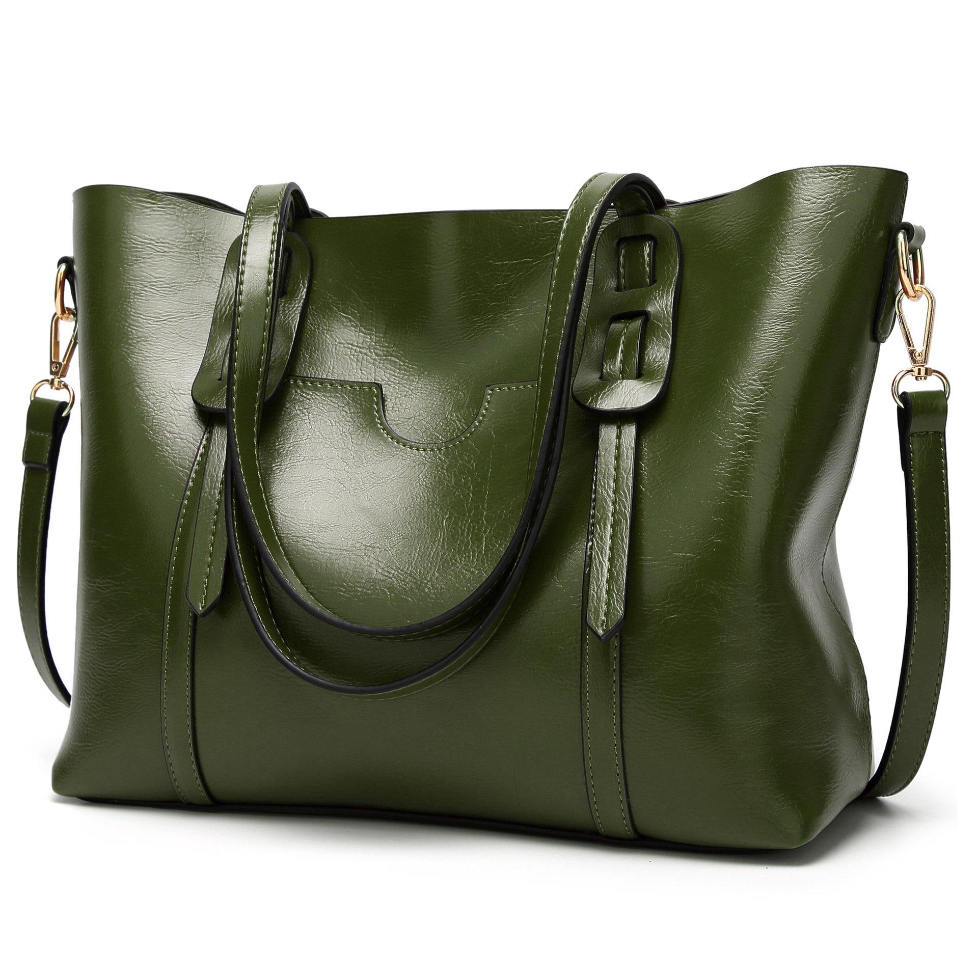 LoZoDo Women Top Handle Satchel Handbags Shoulder Bag Tote Purse (Green 2)