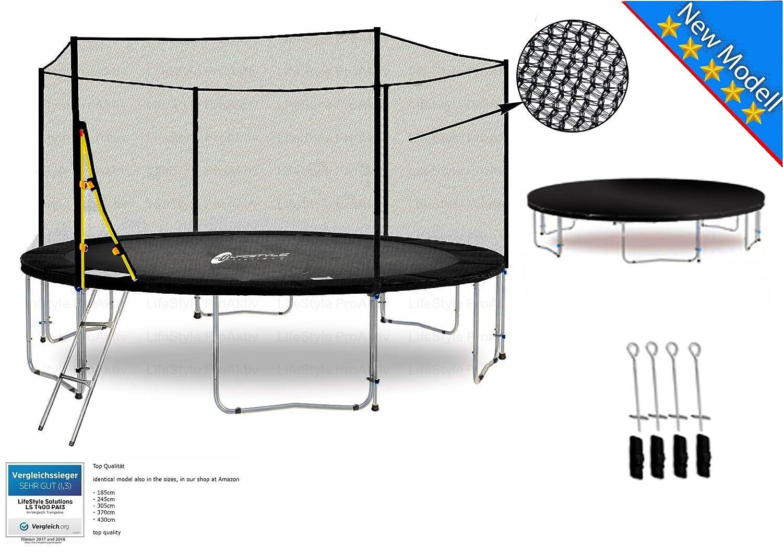 LS-T400-PA13 (S) LifeStyle ProAktiv Garten- Trampolin 400 cm - 13ft - Extra Starkes Sicherheitsnetz - 180kg Traglast - Neu
