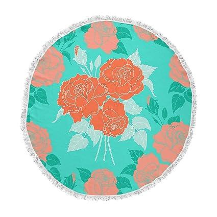 Amazoncom Kess Inhouse Anneline Sophia Summer Rose Orange Teal