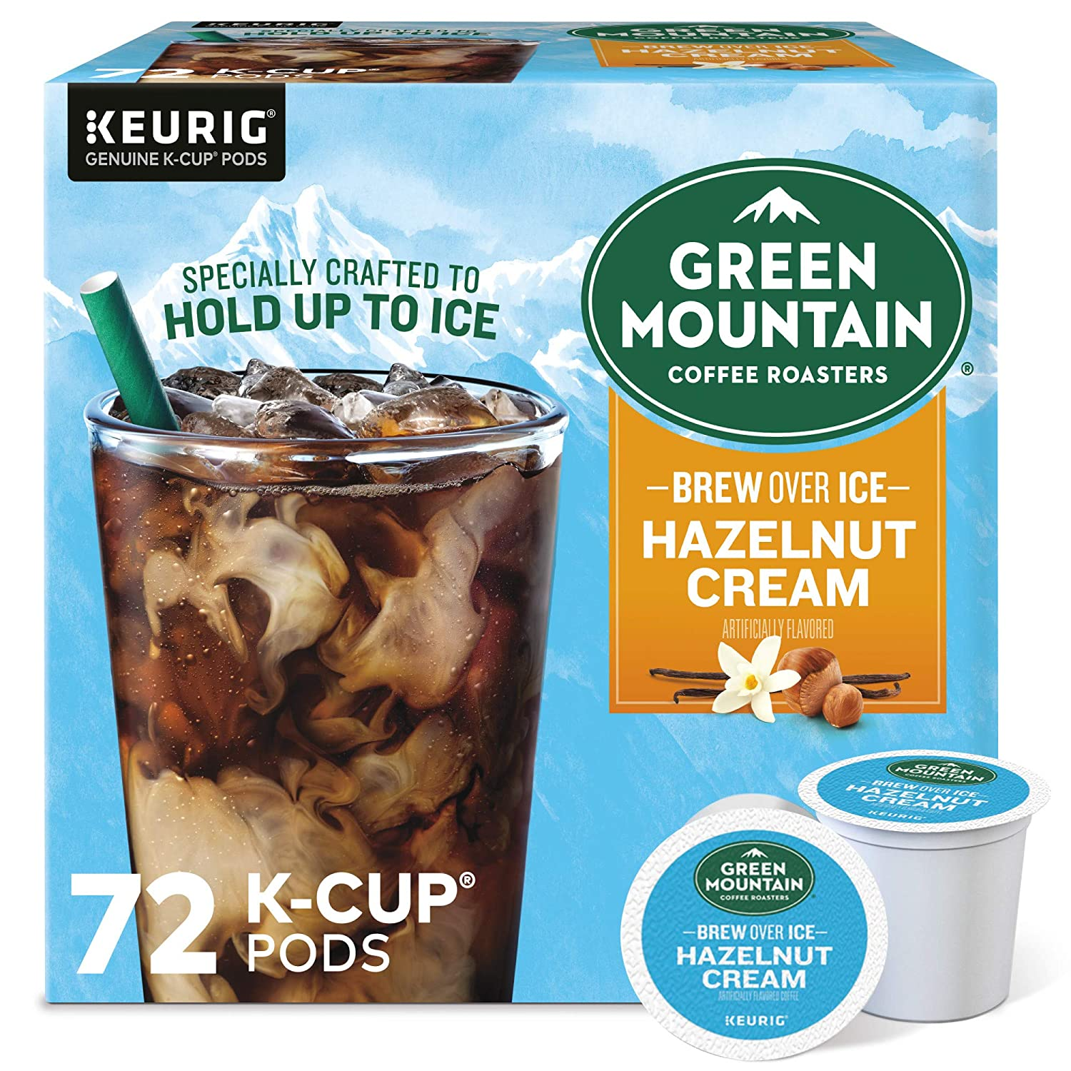 Green Mountain Coffee Roasters Brew Over Ice Hazelnut Cream, Single Serve Keurig K-Cup Pods, Flavored Iced Coffee, 72 Count