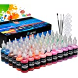 UPGREY 3D Fabric Paint Set for Clothes, 60 Colors (30ml Bottles) Permanent Textile Puffy Paints with Classic, Metallic, Glitt
