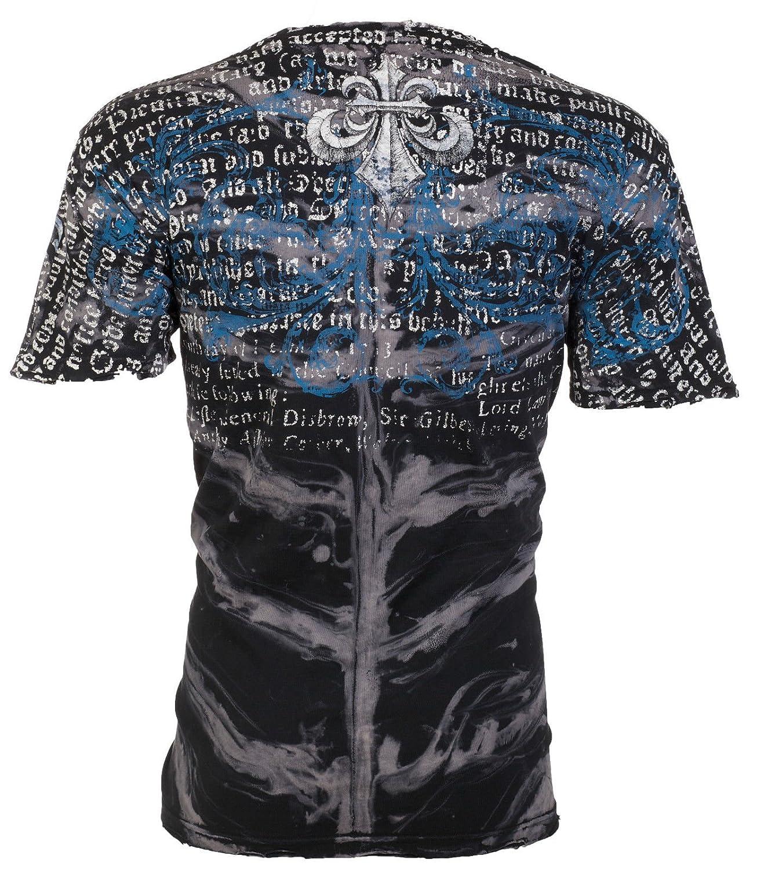 Affliction/ Mens T-Shirt Burn Skulls Black Spine WASH Motorcycle Biker UFC