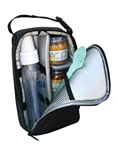 J.L. Childress Pack 'N Protect, Insulated Cooler Bag for Glass Baby Bottles and Food Containers, Portable Travel and On-The-Go Protection, Black