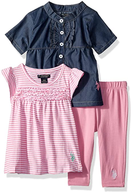 bc0f440dc U.S. Polo Assn. U.S. Polo Assn. Baby Girls Sport Shirt, Knit Top Legging