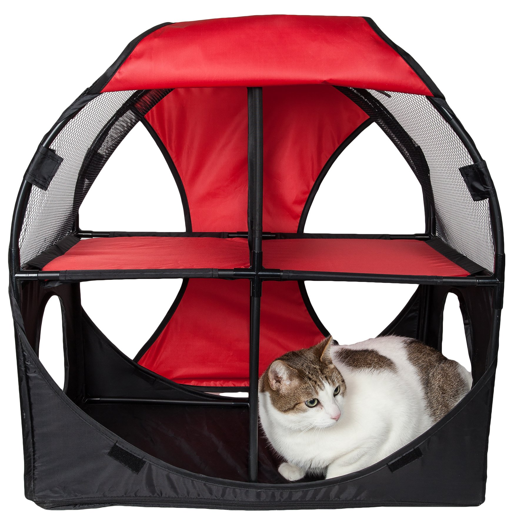 Pet Life Kitty-Play' Collapsible Travel Interactive Kitty Cat Tree Maze House Lounger Tunnel Lounge, One Size, Red and Black